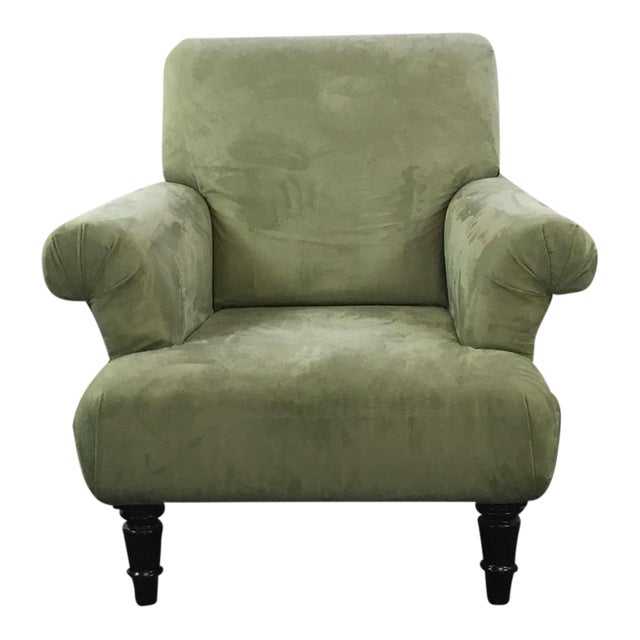 Contemporary Green Suede Upholstered Armchair | Chairish
