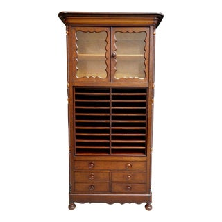 Antique English Mahogany Bookcase Music Office Cabinet