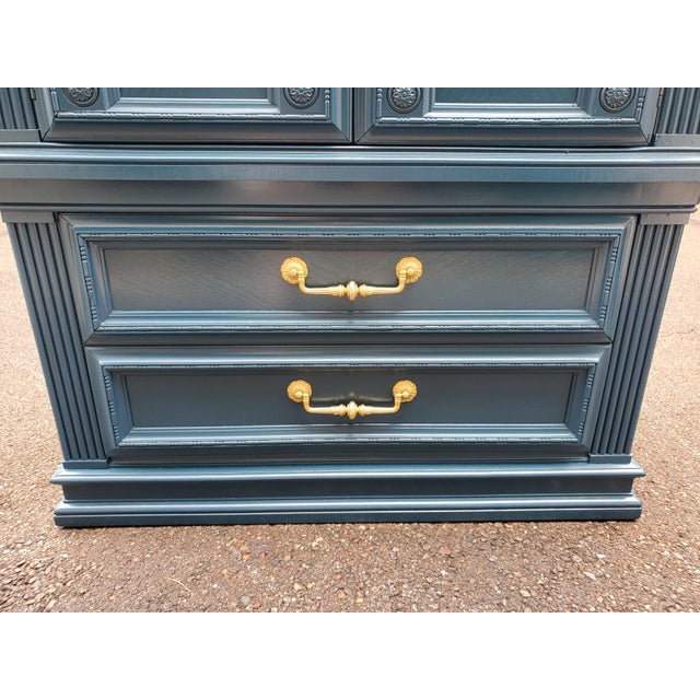 Blue Vintage Moscow Midnight Blue Armoire For Sale - Image 8 of 12