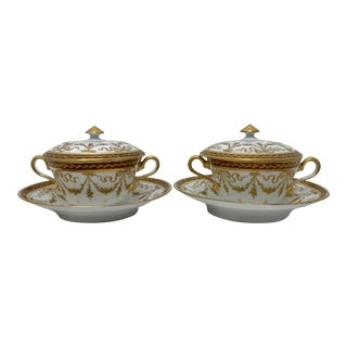 Early 20th Century Dresden Gilded Copper Tea Cups & Saucers - 4 Pieces For Sale