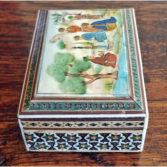 Islamic Persian Handpainted Khatam Mosaic Trinket Box For Sale - Image 3 of 9