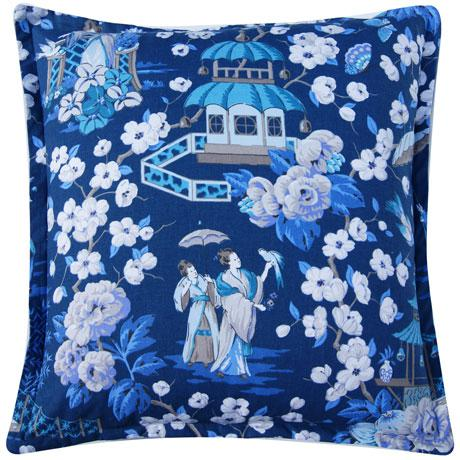 Chinoiserie Pillow Cover - blue and white - 24 inch - euro sham - summer palace - indigo This fabric features vignettes...