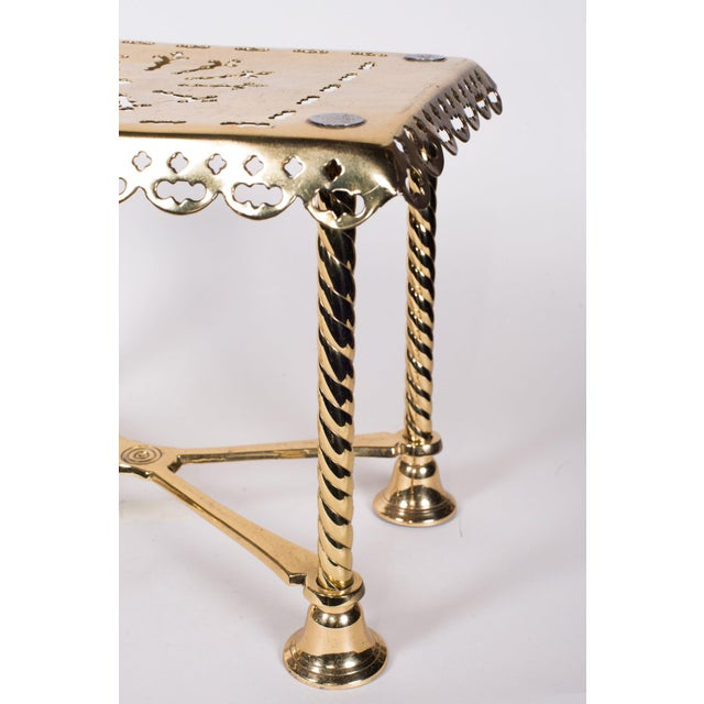19th Century Antique Brass Fireplace Rectangular Kettle Trivet W/ Crossbars, Bell Shaped Feet, Pierced Top & Sides For Sale - Image 4 of 10