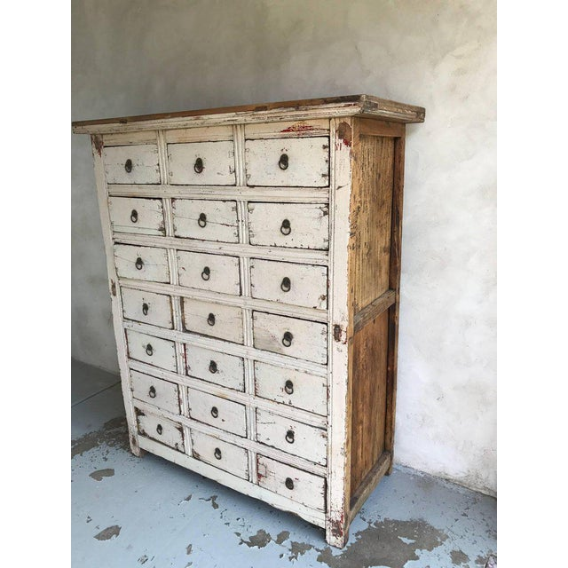 Primitive 21-Drawer Distress Painted Cabinet - Image 2 of 5
