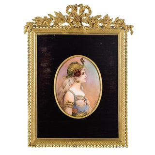 French Portrait of Woman Enamel Plaque With Gilt Bronze Frame For Sale