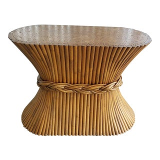 1970's Mid-Century Modern McGuire Sheath of Wheat Rattan Table Base For Sale
