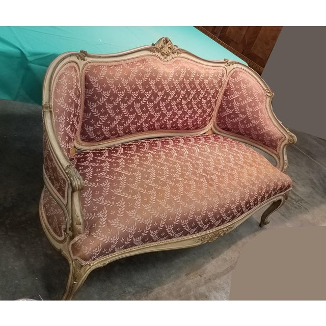 French Provincial Vintage French Provincial Louis XVI Rose Settee Rococo Canape Loveseat For Sale - Image 3 of 11