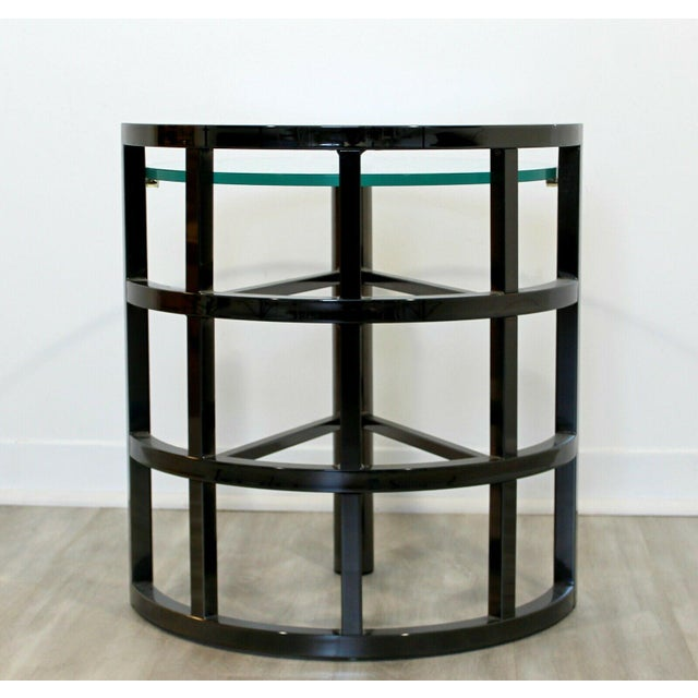 Contemporary Modern Brueton Round Gunmetal Glass Side End Table 80s Asymmetrical For Sale - Image 10 of 12