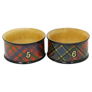 1940s Tartan Ware Wooden Napkin Rings - a Pair