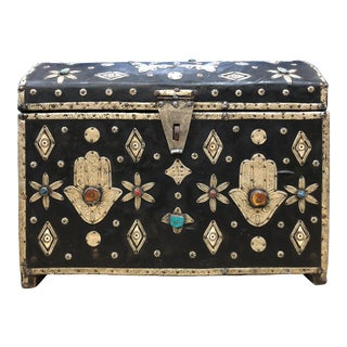 Early 1900s Moroccan Chest - Leather, Bone, Silver, Gems, Hamsa - Luxe Boho Chic For Sale