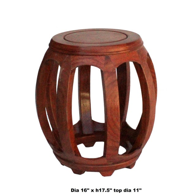 This is a handmade oriental barrel shape bar pattern round wood stool with vinatge distressed brown color. Dimensions: Dia...