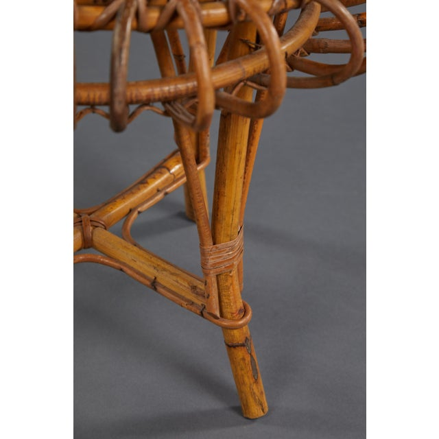 A Petite Pair of Sculptural Rattan Stools For Sale - Image 9 of 10