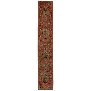 Vintage Turkish Oushak Narrow Carpet Runner, Skinny Hallway Runner For Sale