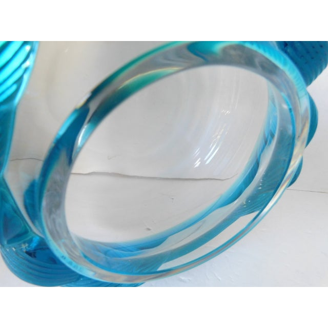Glass 1980s Turquoise and Clear Crystal Vase/Vessel For Sale - Image 7 of 13