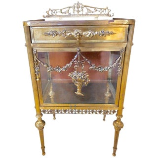 Antique Louis XVI Style Bronze / Glass Vitrine Cabinet or Nightstand For Sale