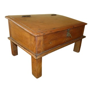 Unique Antique Mid-Century Small Travel Desk W Storage Compartment For Sale