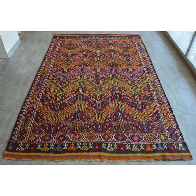 "Antique Turkish Kilim Rug Hand Woven Wool Jajim Braided Area Rug - 6'5"" X 9'10"" For Sale - Image 9 of 9"