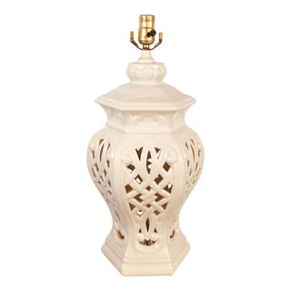 Vintage White Reticulated Lamp For Sale