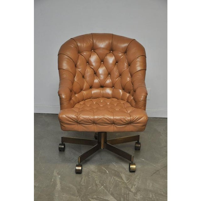 Dunbar Tufted Leather Desk Chair on Bronze Base by Edward Wormley - Image 3 of 6