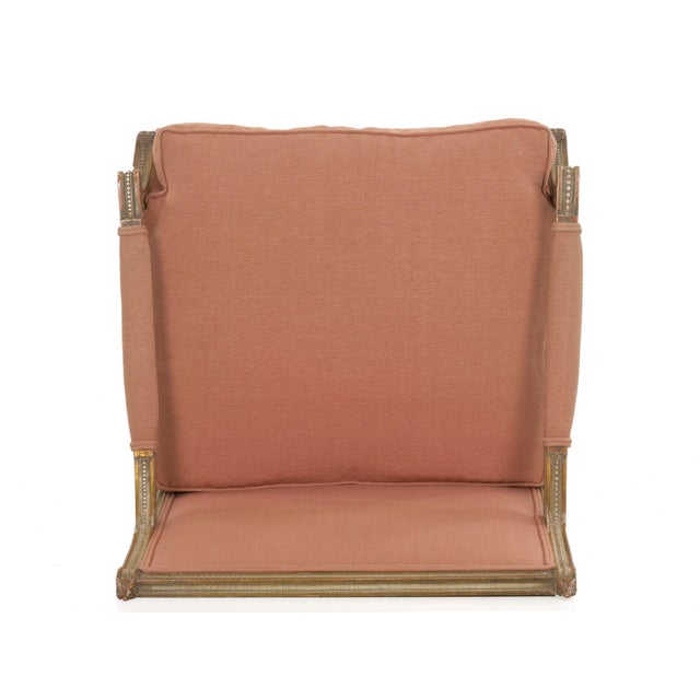 French Louis XVI Style Pink Upholstered Painted Arm Chair Circa 1940s For Sale - Image 12 of 13