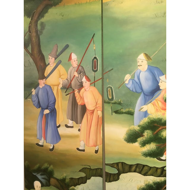 Green Chinoiserie Mural Painting on Panels For Sale - Image 8 of 13