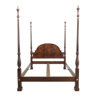 Baker Queen Size Mahogany Carved Poster Bed For Sale