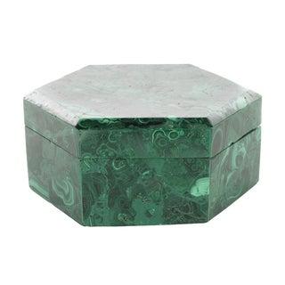 Malachite Hexagonal Carved Box