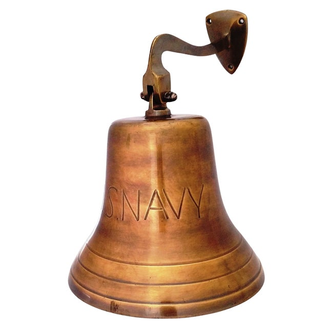 """Antique Brass Solid Heavy Bell. Premium Pirate's Maritime U.S Navy Bell. Call the family to dinner or signal """"Last call""""...."""