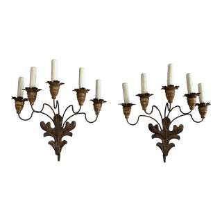 French 5-Light Iron & Giltwood Sconces - a Pair For Sale