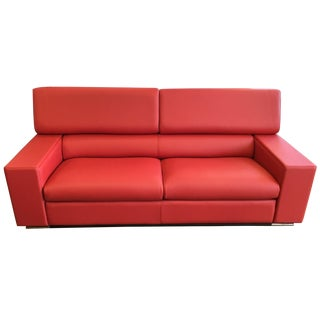 Maurice Villency Red Leather Couch Made in Italy For Sale
