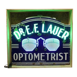 "1930's Vintage Original ""Optometrist"" Neon Sign For Sale"