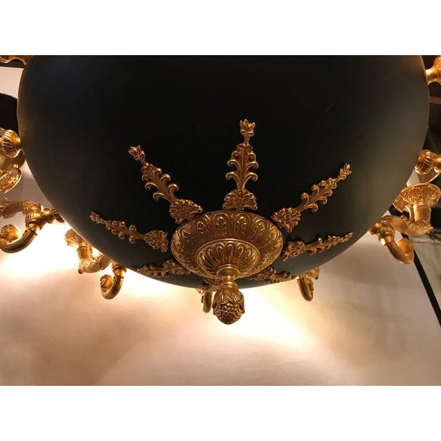 Empire Style Bronze & Ebony Highlights 12-Arm Chandelier For Sale - Image 5 of 10