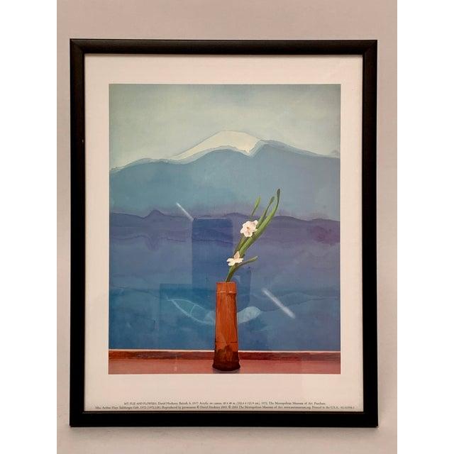 "David Hockney Pop Art Framed Museum Lithograph ""Mount Fuji and Flowers"" by David Hockney For Sale - Image 4 of 11"