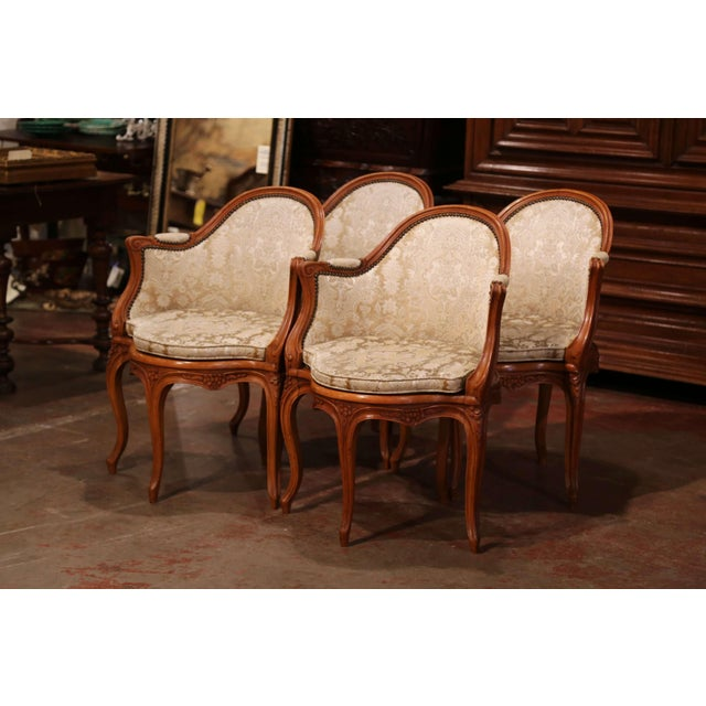 French Set of Four Early 20th Century French Louis XV Carved Walnut Desk Armchairs For Sale - Image 3 of 12