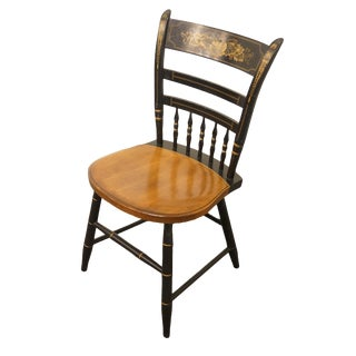 Late 20th Century Vintage Hitchcock Black Stenciled Accent Chair For Sale
