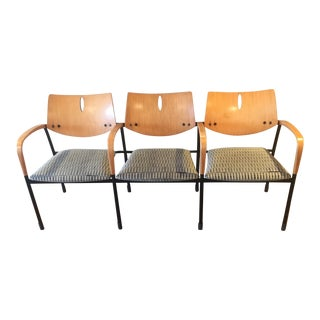Modern Eames Atomic Style 3 Seat Chair Bench For Sale