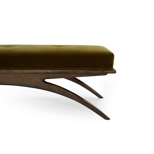 Convex Bench in Olive Mohair For Sale In New York - Image 6 of 10