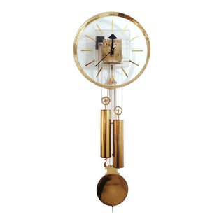 George Nelson Lucite & Brass Wall Clock for Howard Miller For Sale