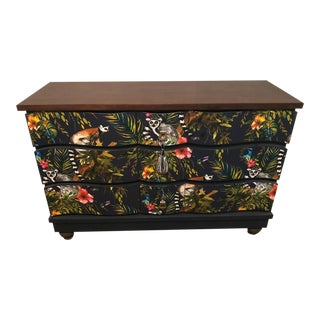 Mid Century Dresser With Exotic Wallpaper Detail For Sale
