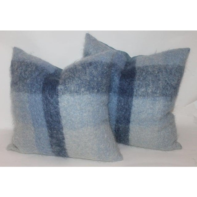 Adirondack Mohair or Lambs Wool Blue Pillows - Set of 4 For Sale - Image 3 of 7