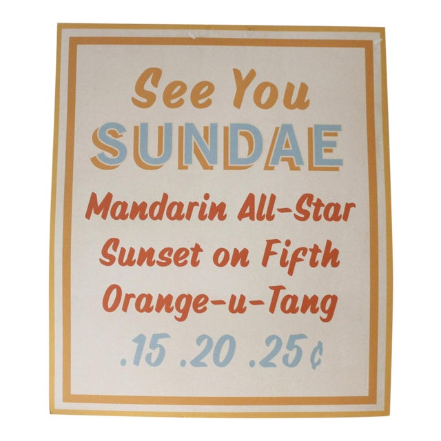 Vintage Dairy Queen Ice Cream Sundae Menu Board Sign Cardstock Advertising Mid Century For Sale