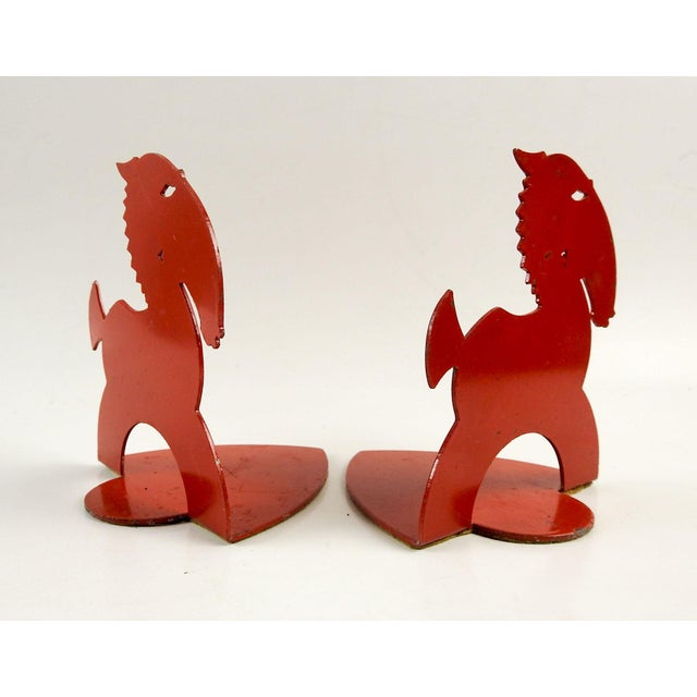 Art Deco Art Deco Red Horse Bookends For Sale - Image 3 of 5