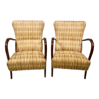 Italian Mid-Century High Back Chairs With Bentwood Frames - Pair