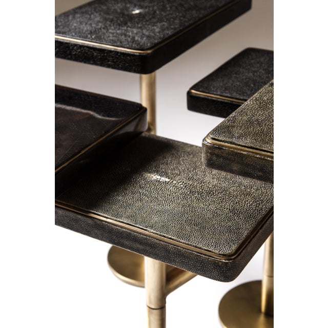 Rotating 5-Top Coffee Table in Shagreen & Bronze-Patina Brass by Kifu Paris For Sale In New York - Image 6 of 8