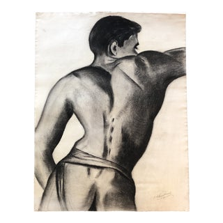 Original 1940's Deco Male Nude Charcoal Drawing Signed For Sale