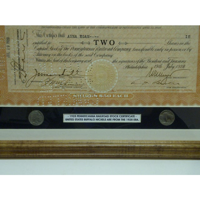 """Traditional Vintage Framed & Matted Multi-Media Collage """"1928 Pennsylvania Railroad Stock Certificate"""" For Sale - Image 3 of 4"""