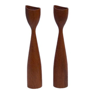 Danish Mid-Century Wood Candle Holders - A Pair
