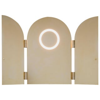 Brass Triptychs Enlighted Mirror, Jesse Visser For Sale