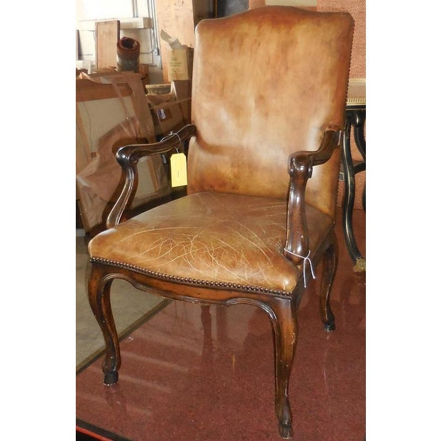 Michael Taylor Brown Leather Arm Chair - Image 2 of 3