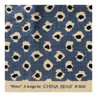 Quadrille Moroc China Seas 100% Linen Fabric - 1 Yard For Sale